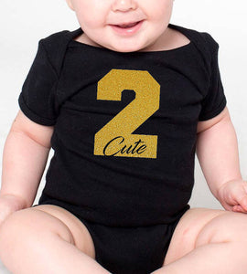 2 cute romper or toddler shirt in gold glitter  |  2nd birthday