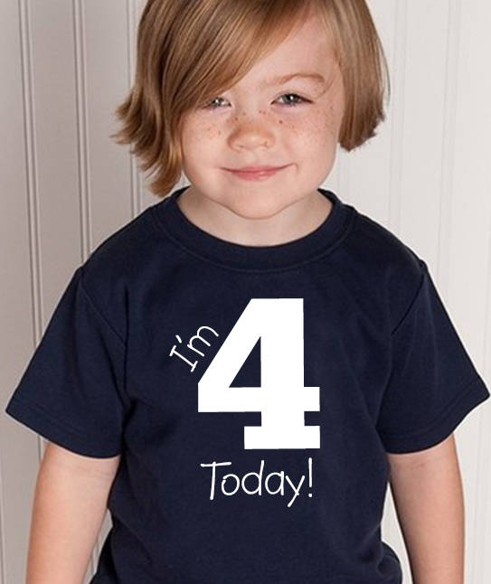 i'm 4 today youth shirt in white text  |  4th birthday