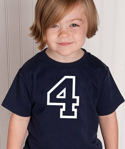 4 years youth shirt in white text  |  4th birthday