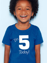 i'm 5 today youth shirt in white text  |  fifth birthday