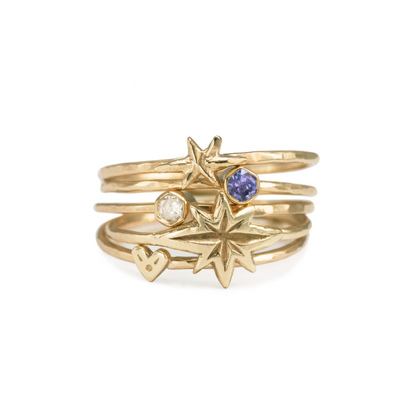 Itty-Bitty Heart Stacking Ring 9k Yellow Gold