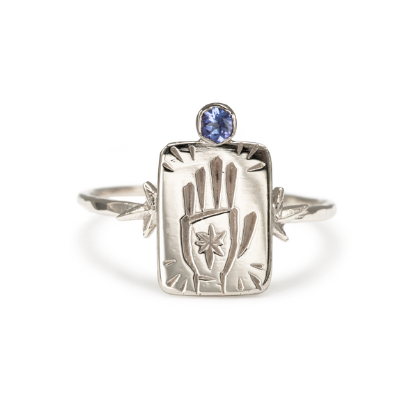 The Magician 9k White Gold Tarot Ring