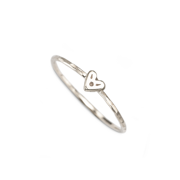 Itty-Bitty Heart Stacking Ring 9k White Gold