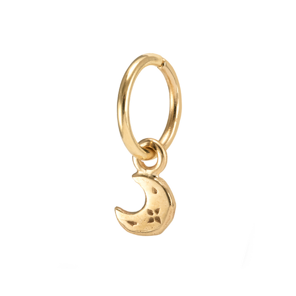 Celeste Charm Hoop Earring Yellow Gold