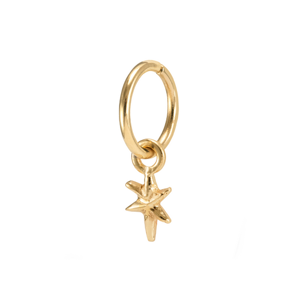 Lyra Charm Hoop Earring Yellow Gold