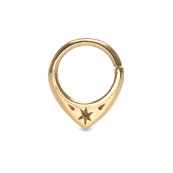 Mini Fin Star Septum Ring 9k Yellow Gold
