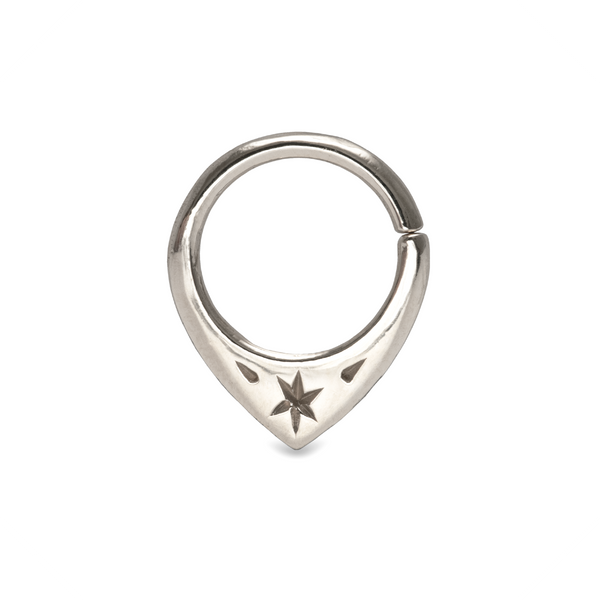 Mini Fin Star Septum Ring 9k White Gold