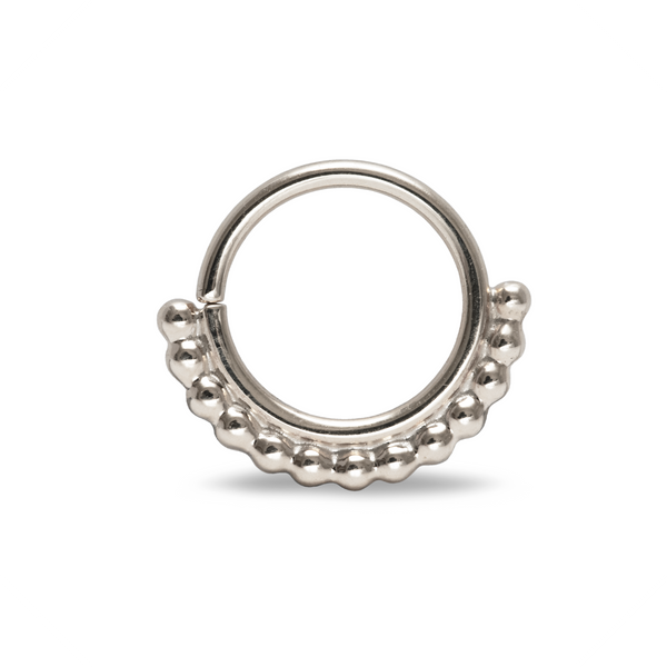 Halley Beaded Septum Ring White Gold