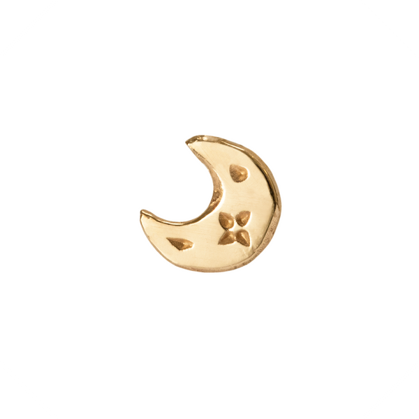Celeste Moon Stud Earring 9k Yellow Gold