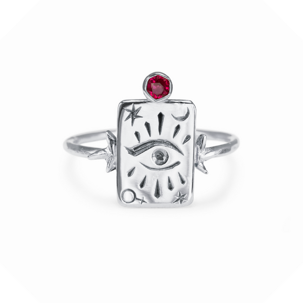 The High Priestess Gemstone Ring Sterling Silver