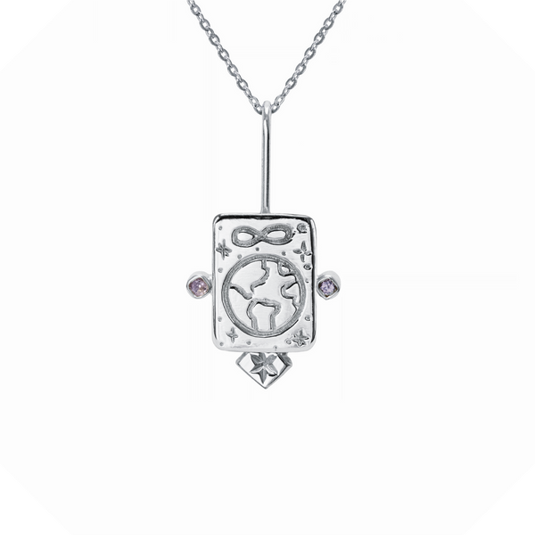 The World Gemstone Necklace Sterling Silver