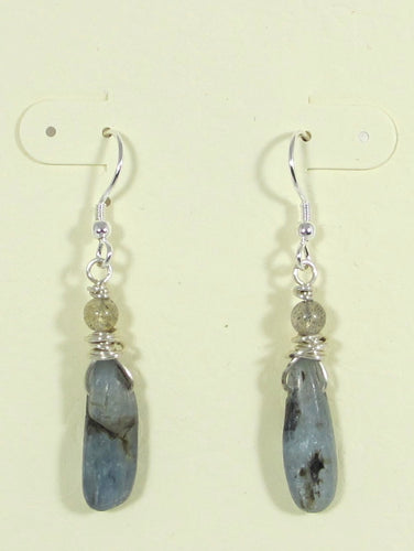 Blue Kyanite & Labradorite Earrings
