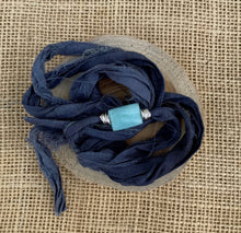 Load image into Gallery viewer, Amazonite Sari Silk Wrap Bracelet