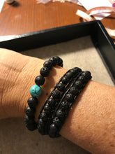 Load image into Gallery viewer, Lava & Turquoise Men's Mala Bracelet