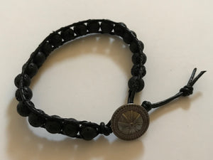 Men's Leather & Lava Bead Bracelet