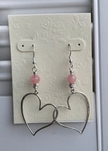 Load image into Gallery viewer, Rose Quartz Heart Earrings