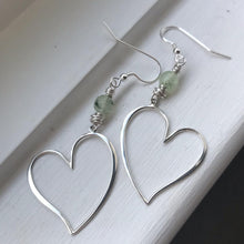 Load image into Gallery viewer, Prehnite Heart Earrings