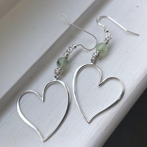 Prehnite Heart Earrings
