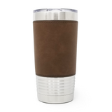 20 oz. Leatherette Tumbler - Dark Brown (Black Engraving)