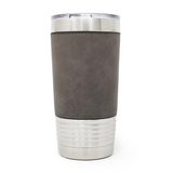 20 oz. Leatherette Tumbler - Grey (Black Engraving)