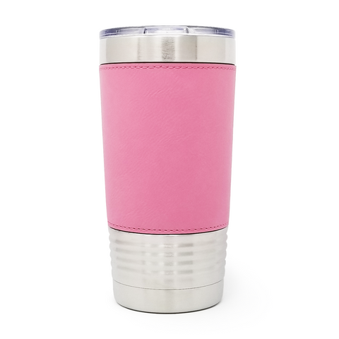 20 oz. Leatherette Tumbler - Pink (Black Engraving)