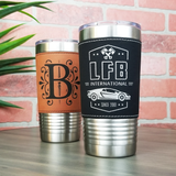 20 oz. Leatherette Tumbler - Black (Silver Engraving)