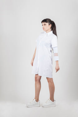 White shirt net dress - Natural Born Humans Store
