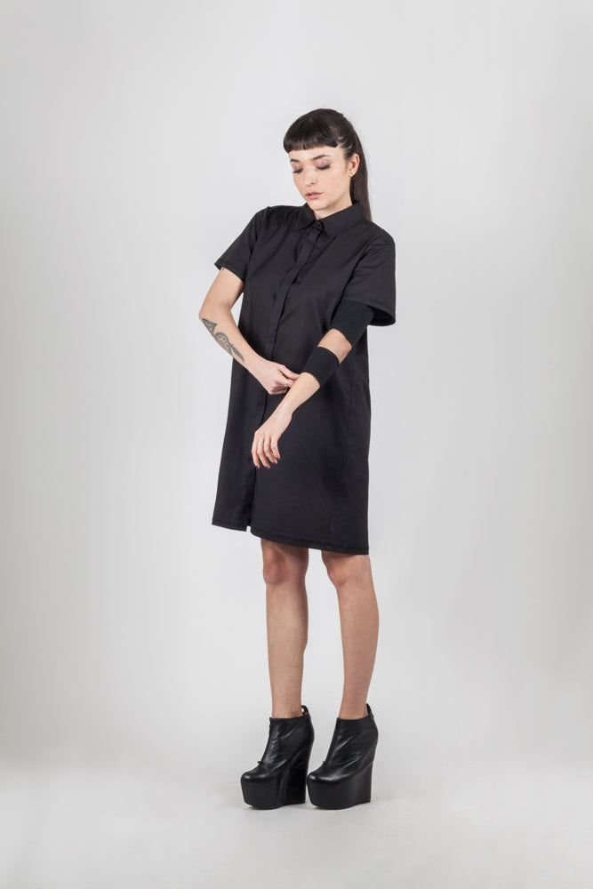 Black shirt net dress - Natural Born Humans Store