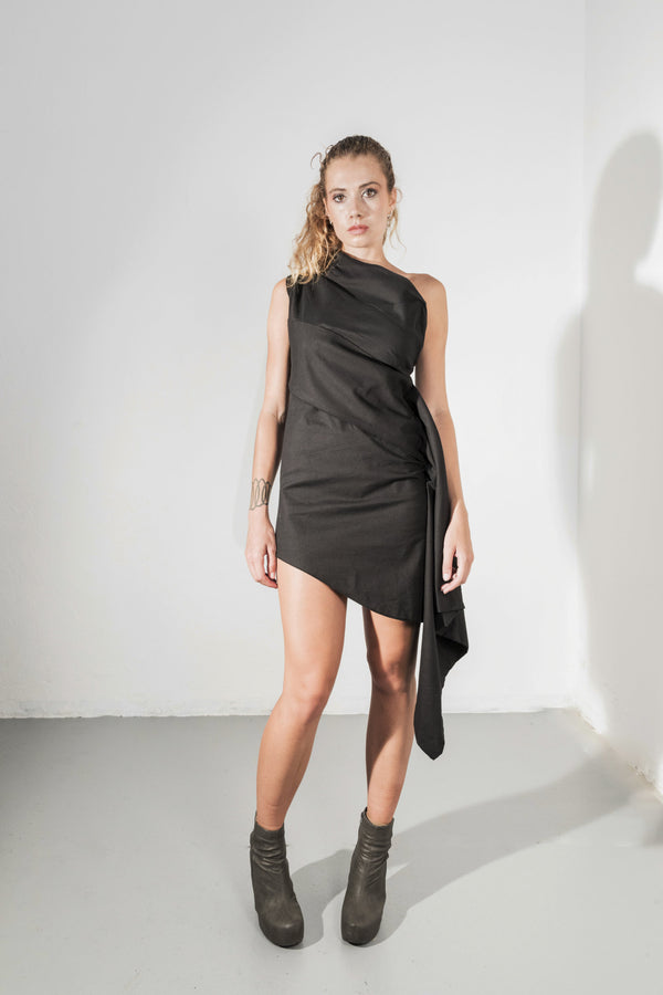 One shoulder mini dress - Natural Born Humans Store