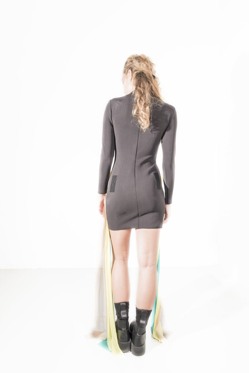 Draped patch Mini Dress - Natural Born Humans Store