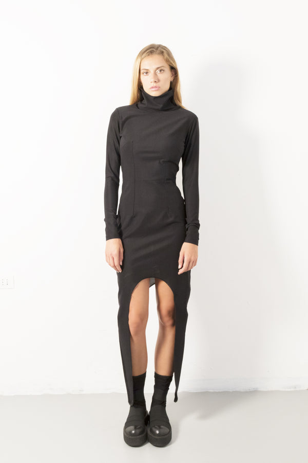 High collar avantgarde dress