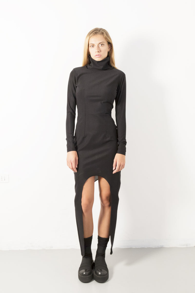 High collar avantgarde dress - Natural Born Humans Store