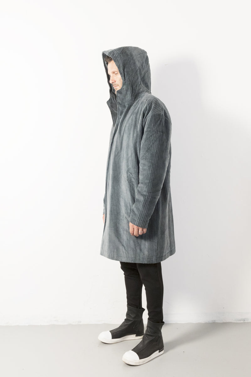 Velvet hoodie long coat - Natural Born Humans Store