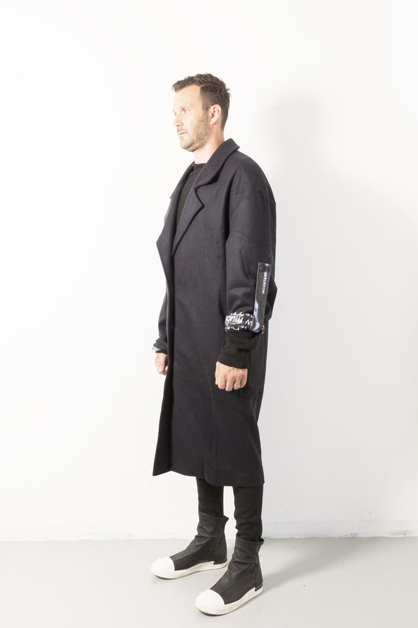 Printed Lining Over Blue Coat - Natural Born Humans Store
