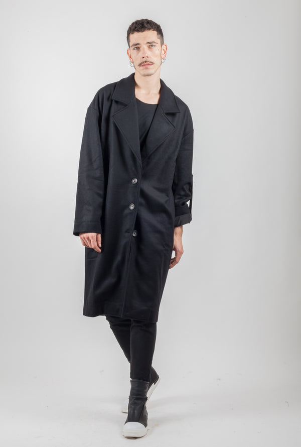 BLACK THREE BOTTON WOOL COAT - Natural Born Humans Store