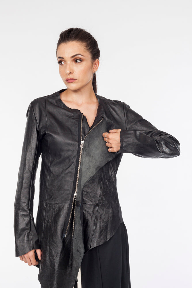 Live cut asymmetrical leather jacket - Natural Born Humans Store