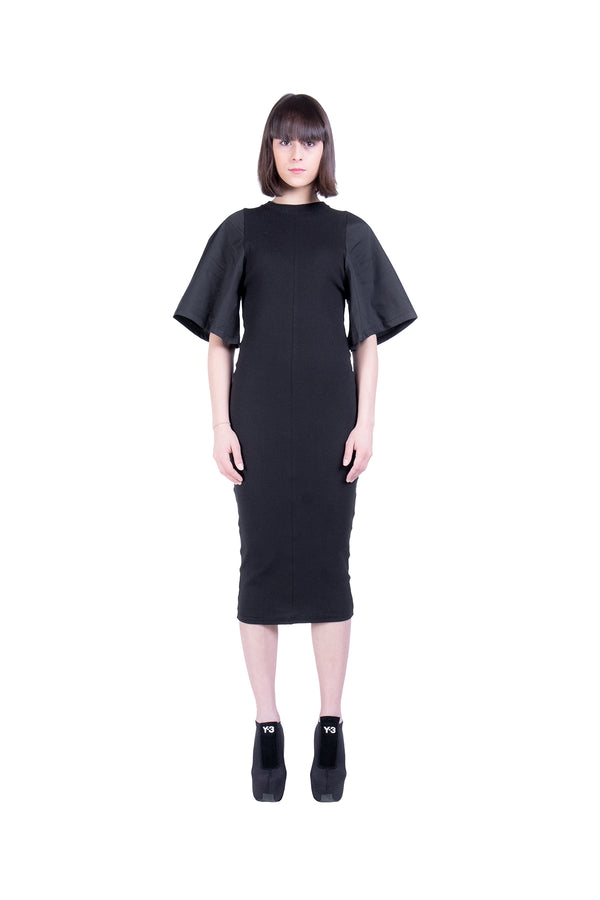 Large Sleeves Rib and Popeline Dress - Natural Born Humans Store