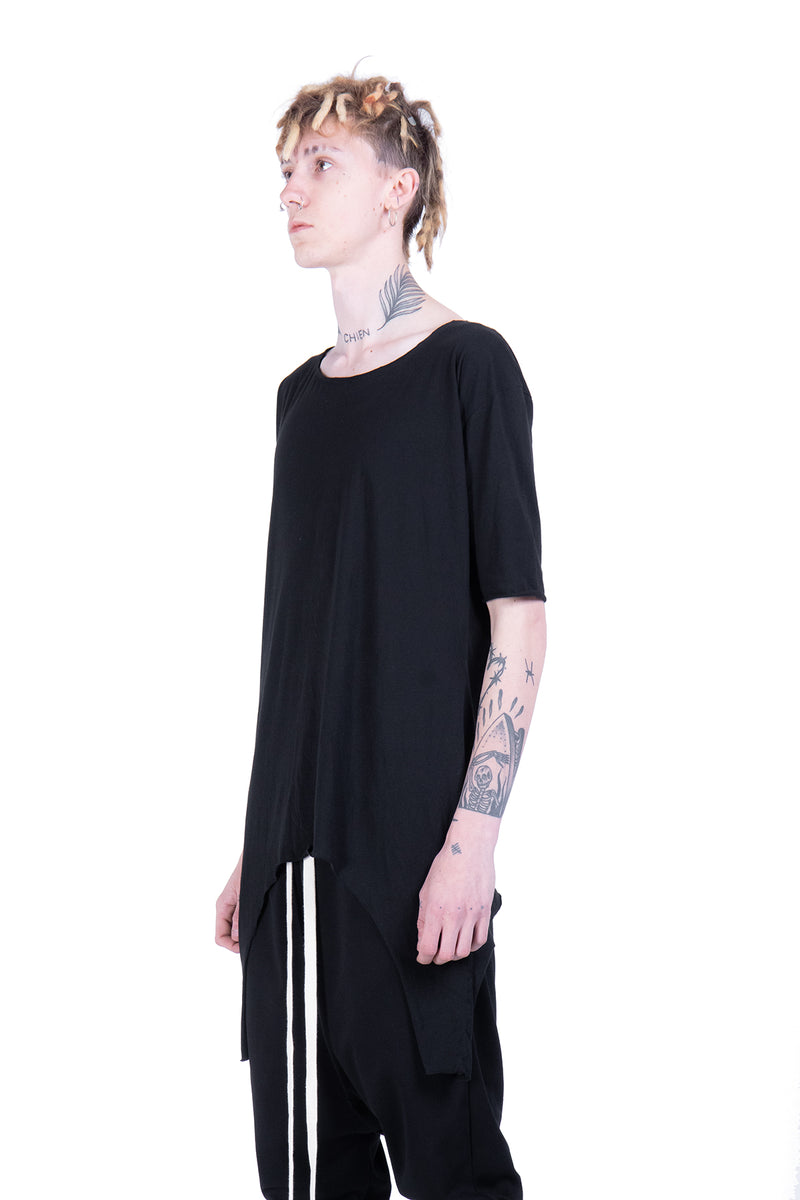 Asymmetric boat neckline basic top - Natural Born Humans Store