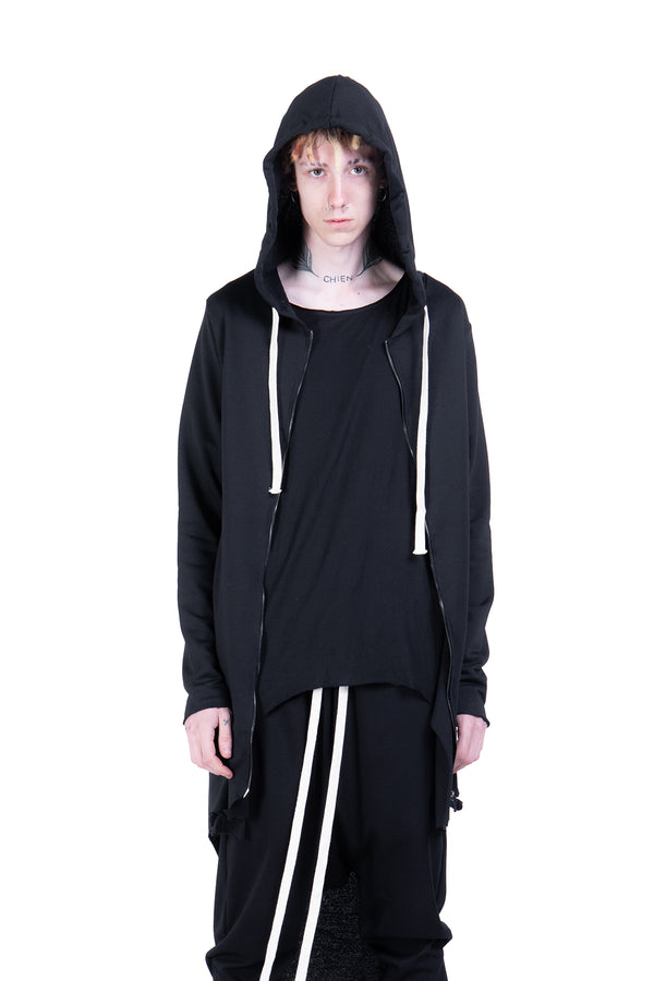Drawstring maxi hoodie with zip