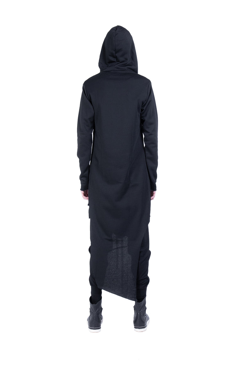 Drawstring maxi hoodie with zip - Natural Born Humans Store