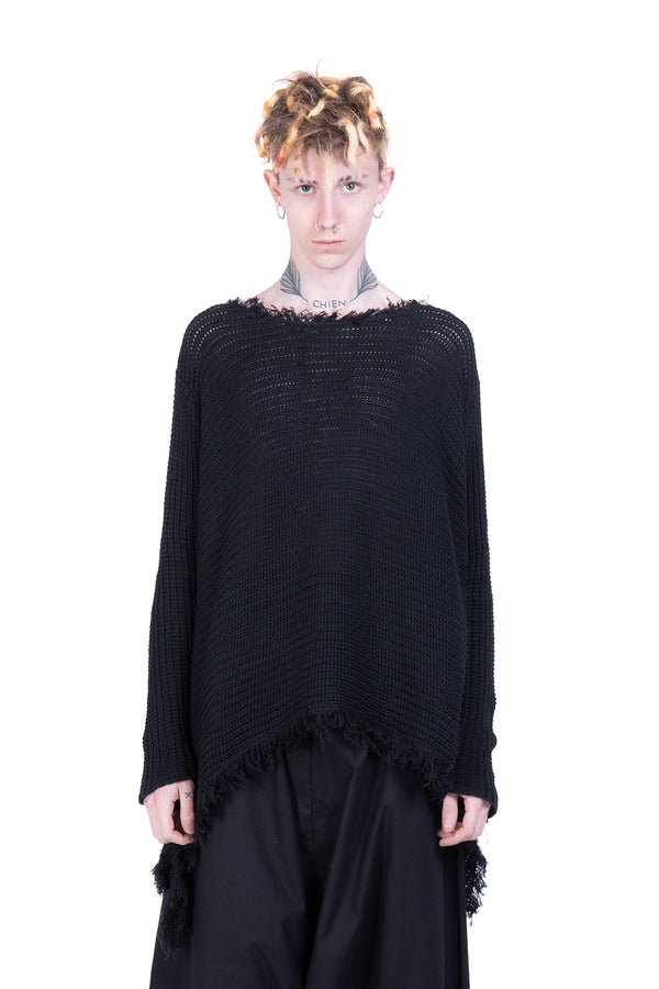 Fringed Asymmetric knit sweatshirt - Natural Born Humans Store