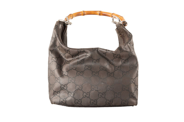 Borsa Gucci anni '90 in pelle con manico in bambù, chiusura a zip, in fantasia GG | Gucci Bamboo handbag. - Natural Born Humans Store