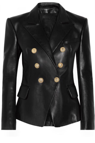Leather Button Blazer