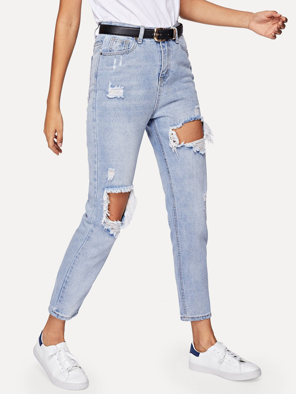 Cut Out Ripped Jeans - spiffy-fashion-boutique
