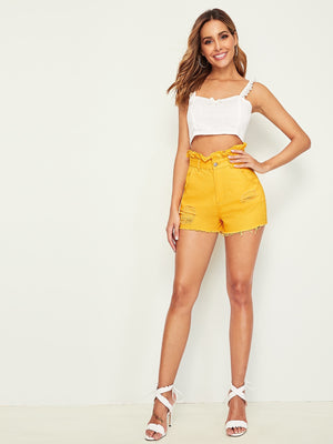 Ruffle Waist Ripped Detail Solid Denim Shorts - spiffy-fashion-boutique