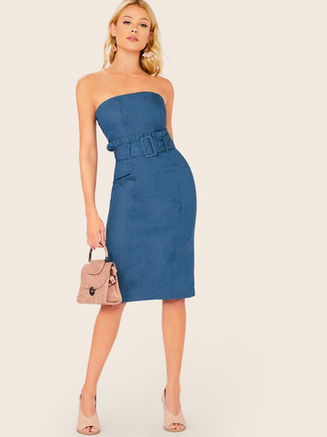 Ruffle Belted Waist Strapless Denim Dress
