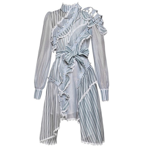Striped Full Sleeve Sashes Knee-Length Lady Dress