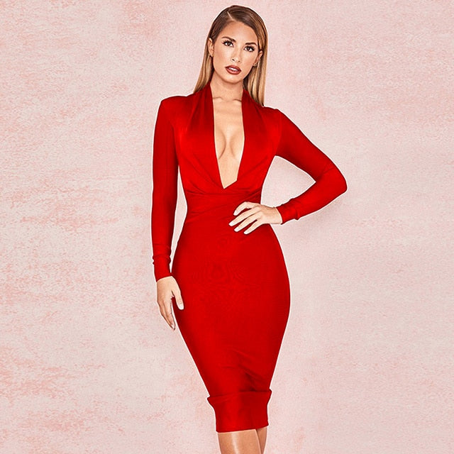 V-neck draped dress sexy club evening party dress