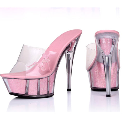 Clear Crystal High Heels Platform Sandals