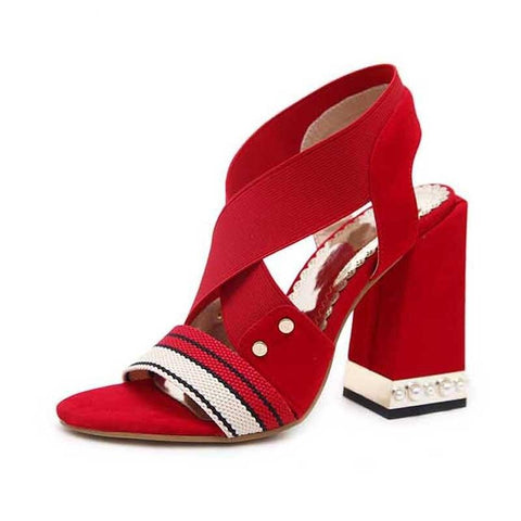 Red Elastic Band Pump Sandals